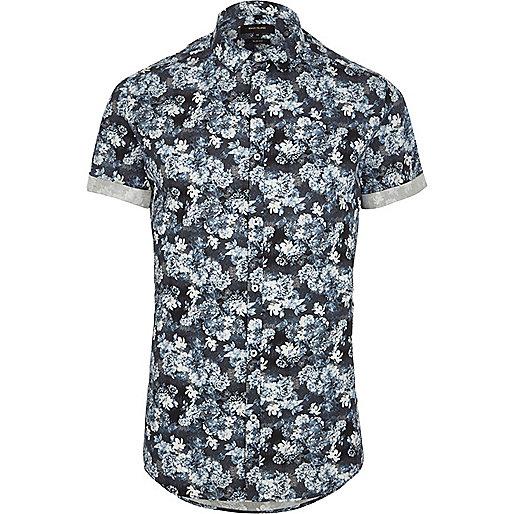 Blue floral print short sleeve slim fit shirt