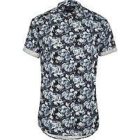 Blue floral short sleeve grandad shirt
