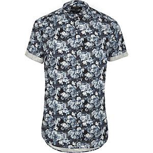 Blaues, geblümtes Slim Fit Grandad-Hemd