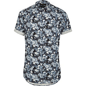 Blue floral slim fit grandad shirt