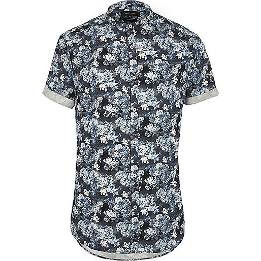 Blue floral short sleeve grandad shirt shirts sale men for Short sleeve grandad shirt