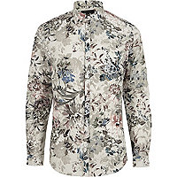 Green floral print slim fit shirt