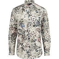 Green floral print slim fit shirt