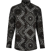 Black bandana print skinny fit shirt