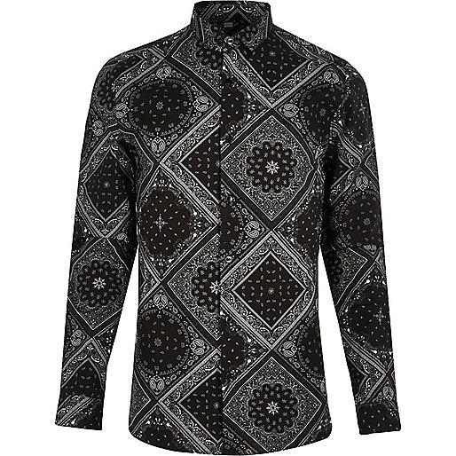 Black bandana print skinny fit shirt