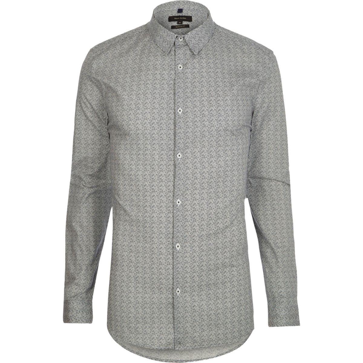 Black print long sleeve muscle fit shirt
