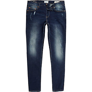 Dark blue Only & Sons fade detail jeans