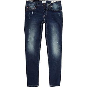 Only & Sons - Donkerblauwe jeans met vervaagd detail