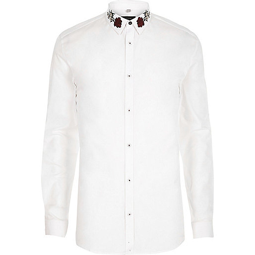 White embroidered collar muscle fit shirt