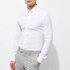 Wit skinny-fit overhemd met textuur en korte kraag