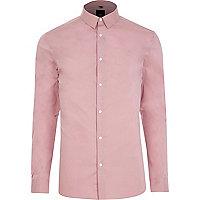 Blush pink muscle fit smart shirt