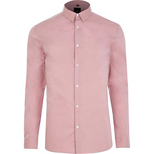 Blush pink muscle fit smart shirt