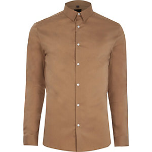 Camel brown muscle fit smart shirt