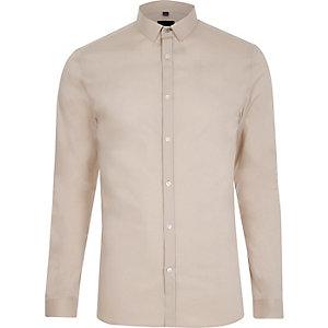 Steingraues Skinny Fit Hemd mit langen Ärmeln