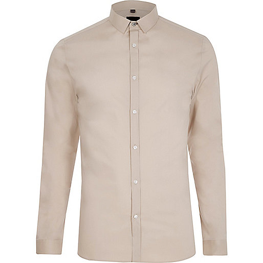 Stone long sleeve skinny fit smart shirt