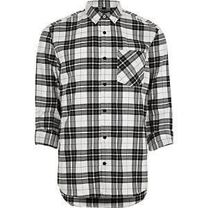Cream herringbone check casual shirt