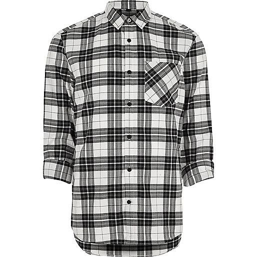 Cream herringbone check casual shirt