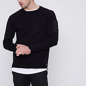 Only & Sons – Schwarzes Jacquard-Sweatshirt mit Camouflage-Muster