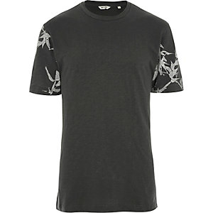 Dark grey Only & Sons printed sleeve T-shirt