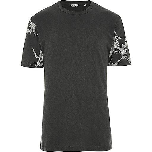 Dark grey Only & Sons printed sleeve T-shirt