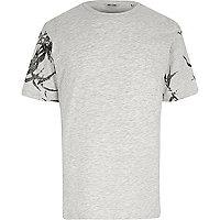 Only & Sons – T-shirt gris à manches imprimées