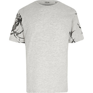 Grey Only & Sons printed sleeve T-shirt