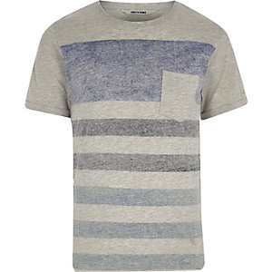 Grey Only & Sons stripe pocket T-shirt