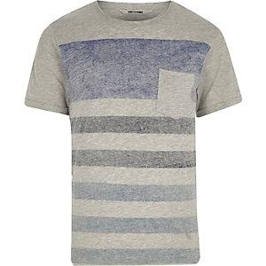 Only & Sons – T-shirt rayé gris à poche