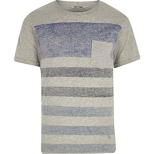 Grey Only & Sons stripe pocket T-shirt