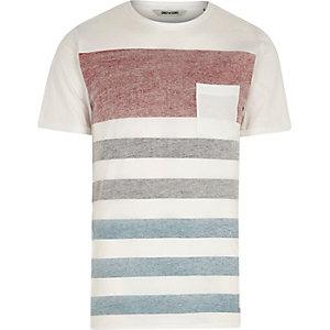 Only & Sons – T-shirt blanc avec poche rayée