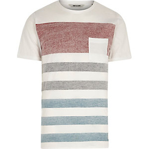 Only & Sons - Wit gestreept T-shirt met palmboomprint
