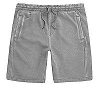 Grey burnout jersey shorts