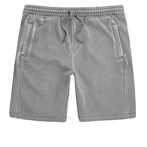 Grey burnout jersey shorts