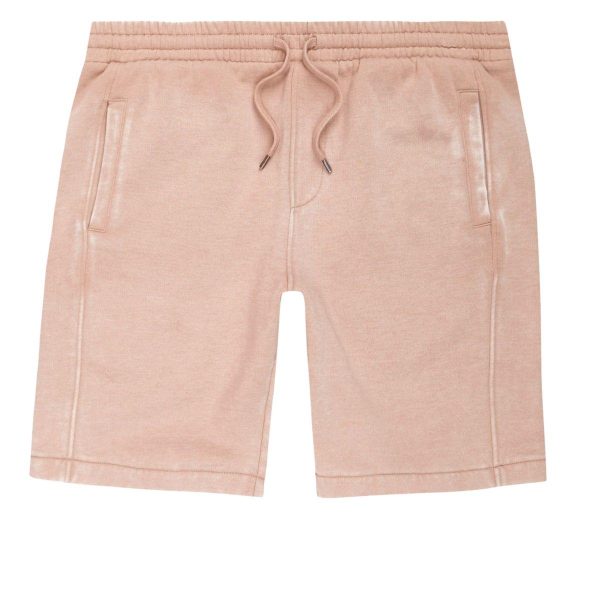 Pink burnout jersey shorts
