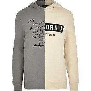 Grey contrast print spliced hoodie