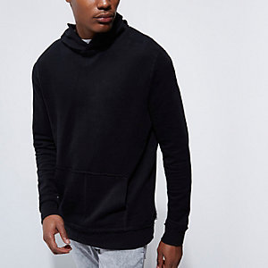 Black burnout long sleeve hoodie