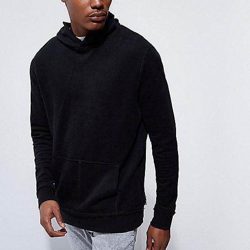 Black burnout long sleeve hoodie