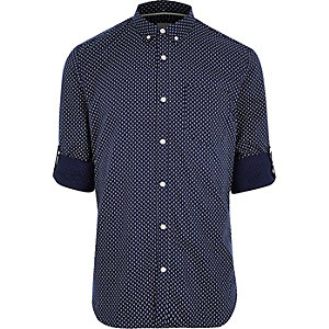 Navy geo print slim fit casual shirt