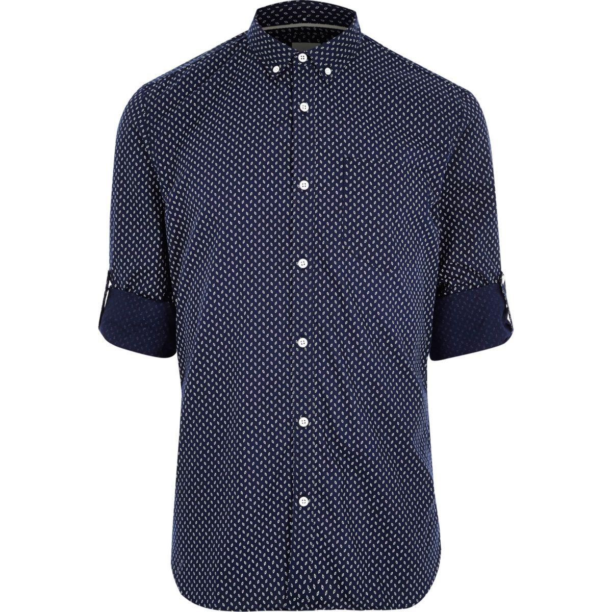 Navy geo print slim fit casual shirt