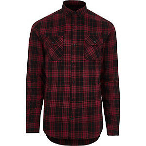 Red Only & Sons slim fit check shirt