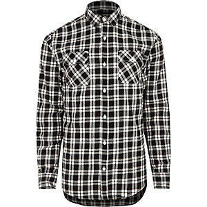 Black Only & Sons check slim fit shirt