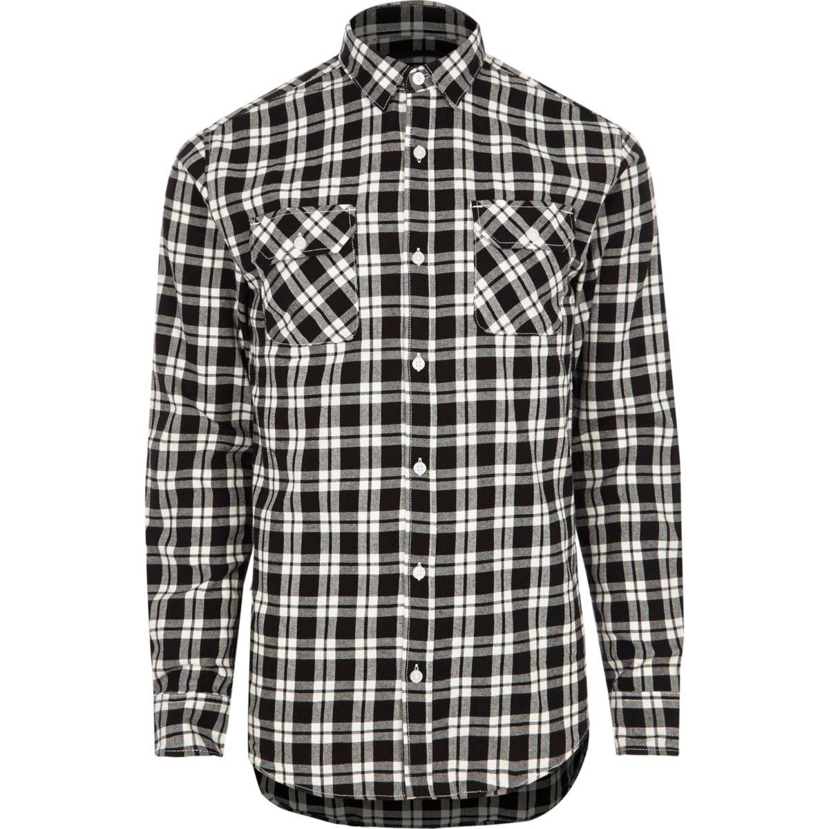 Only & Sons - Zwart geruit slim-fit overhemd
