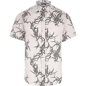 Only & Sons - Crème overhemd met bladprint en korte mouwen