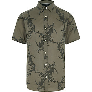 Green Only & Sons leaf short sleeve shirt