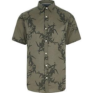 Only & Sons - Groen overhemd met bladprint en korte mouwen