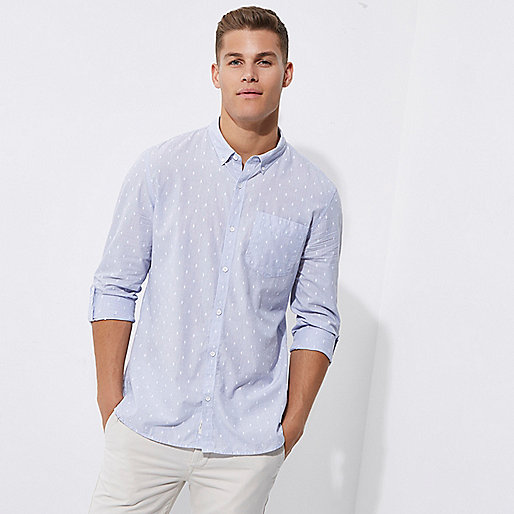 Blue stripe dobby slim fit casual shirt