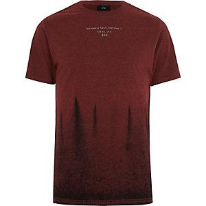 T-shirt rouge effet tie-dye à col ras-du-cou