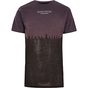 Purple tie dye print burnout T-shirt