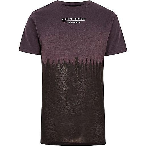 Purple tie dye print burnout T-shirt