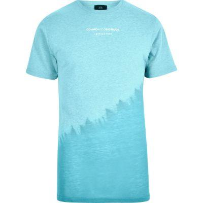 Blauw tie-dye T-shirt met ronde hals